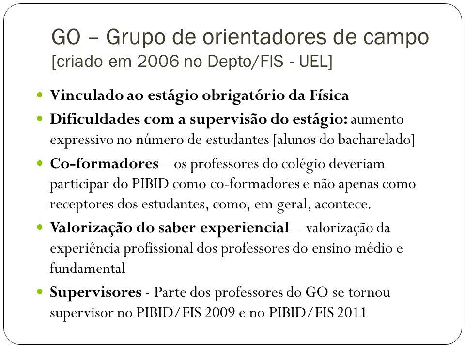 GO – Grupo de orientadores de campo [criado em 2006 no Depto/FIS - UEL]